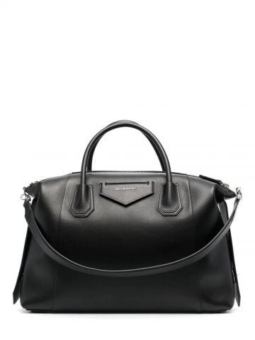 Medium Antigona Soft bag in black smooth leather