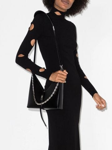 Small Black Cut Out Leather Bag with Chain