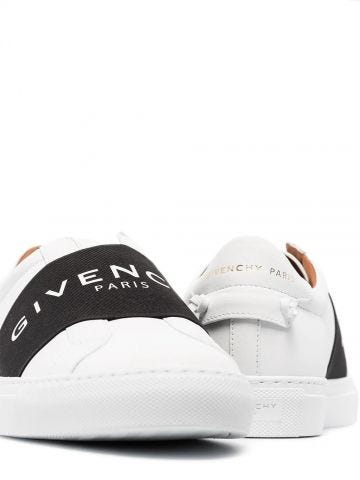 Webbing sneakers in white leather