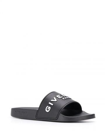 Givenchy Paris black flat sandals