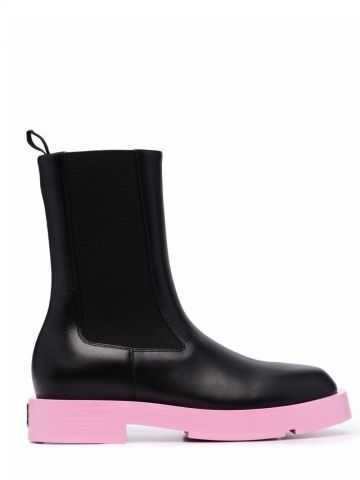 Black and pink colour-block design Chelsea boots
