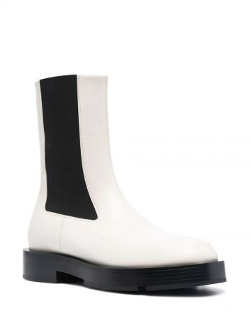 White square-toe Chelsea boots