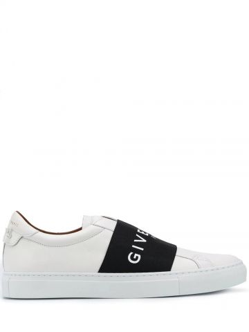 Sneakers di pelle bianca con fascia