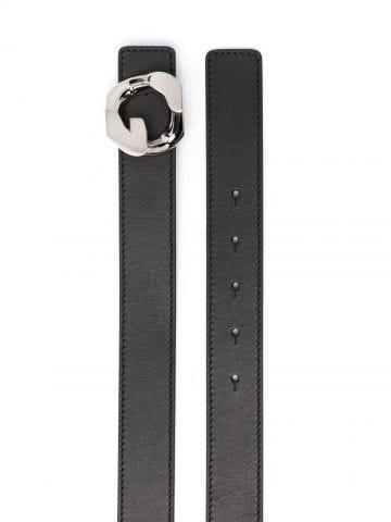 G Chain buckle belt in black leather