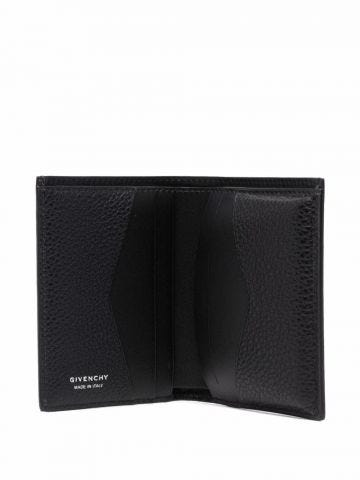 Card holder in black grained leather