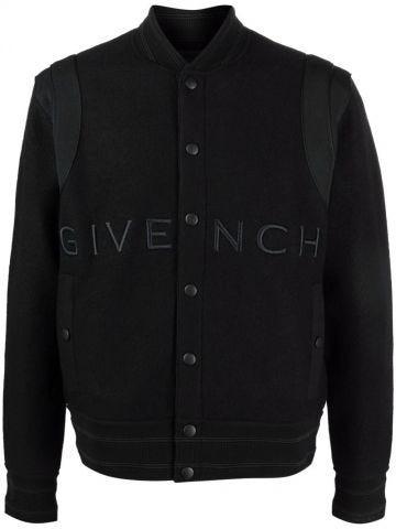 Black logo embroidery bomber jacket