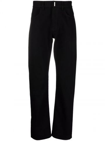 Black straight-leg jeans with metal logo details