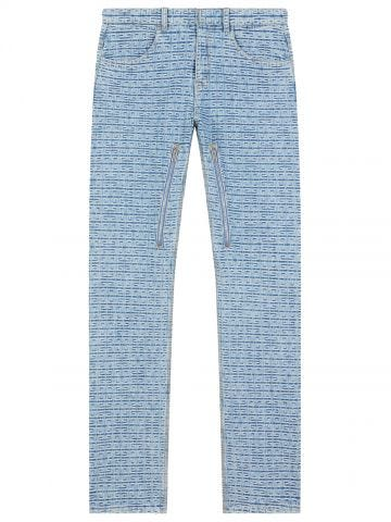 Blue jeans in 4G denim with zips