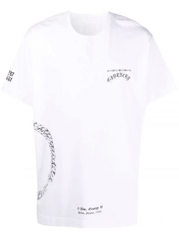 White T-shirt with chain