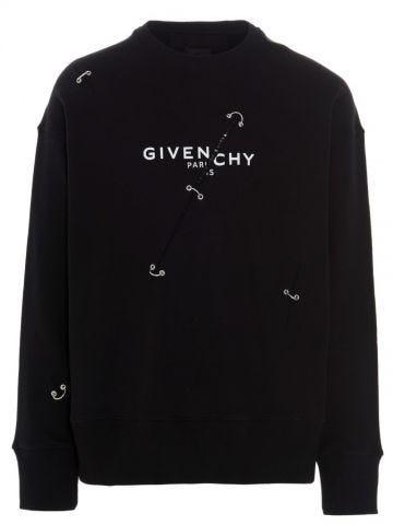 Black crewneck cotton logo print sweatshirt