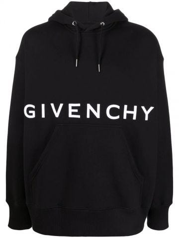 Black cotton logo drawstring hoodie
