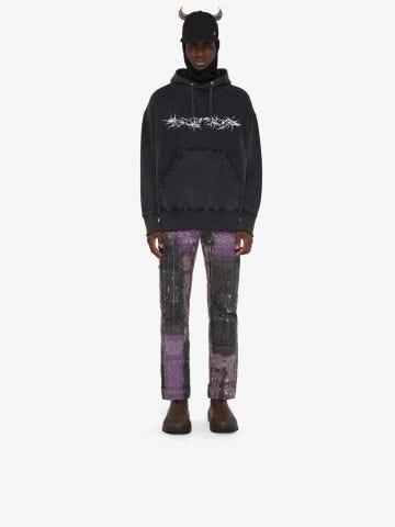 Felpa nera con cappuccio oversize Givenchy Barbed Wire