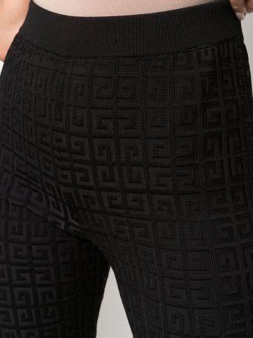 Pantaloni leggings in maglia nera con monogramma