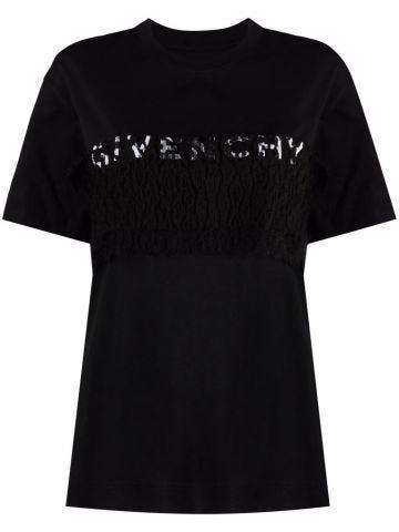 Black logo print fitted T-shirt
