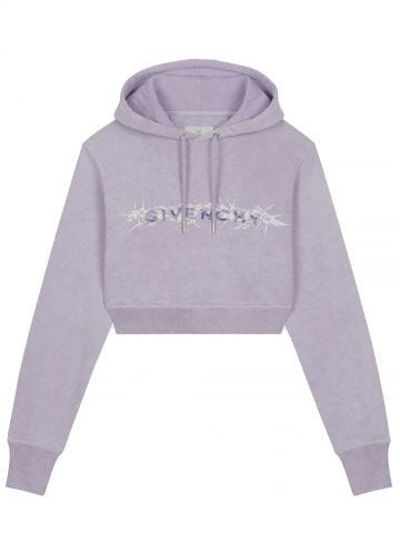 Purple Givenchy Barbed Wire vintage short hoodie