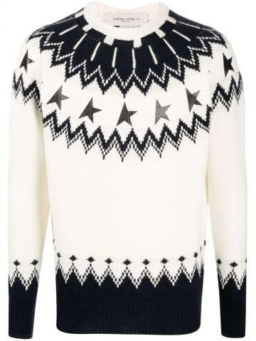 White jacquard-pattern sweater
