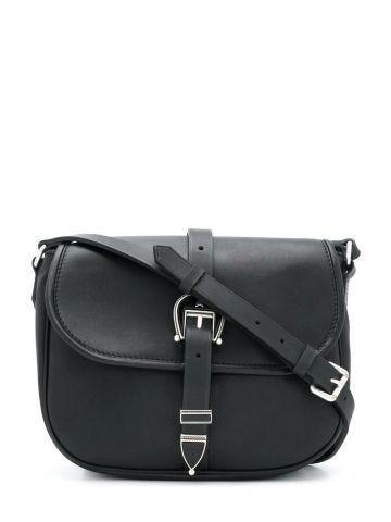 Black shoulder bag with buckle