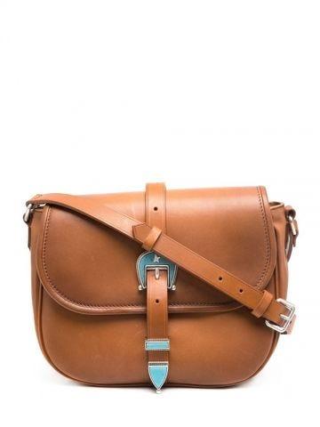Brown shoulder bag with buckle