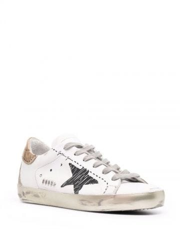 Super-Star sneakers with gold laminated leather heel tab and printed detail