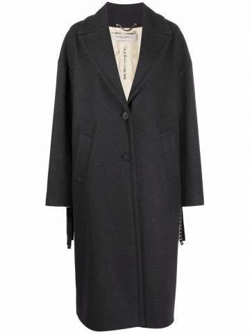 Grey single-breasted fringed coat