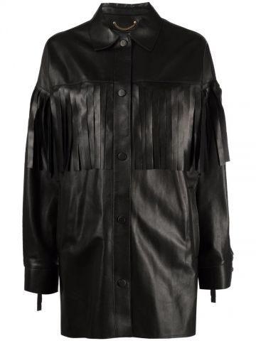 Black fringed leather jacket