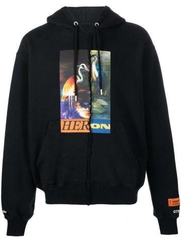 Black hooded sweatshirt with print