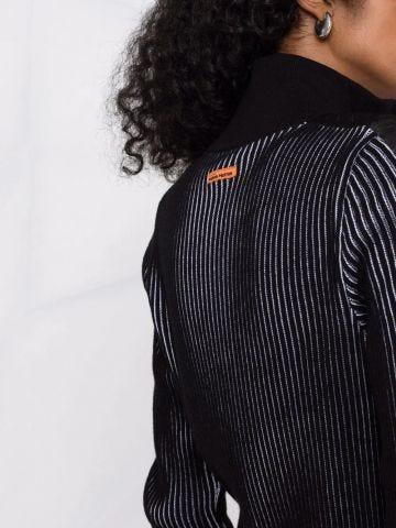 Black zip-fastening striped dress