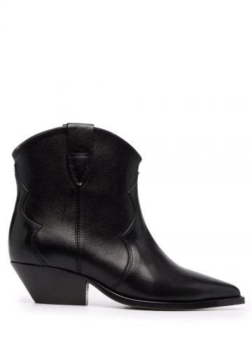 Black leather ankle cowboy boots