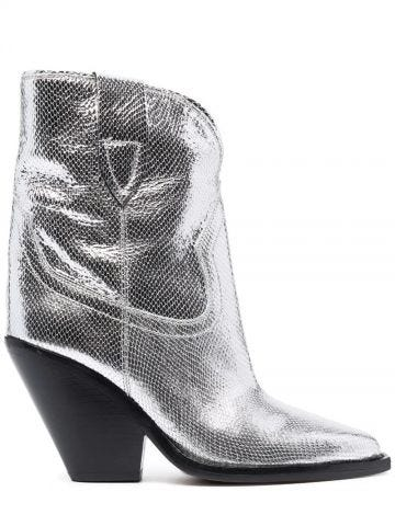 Silver Leyane mid-calf leather boots