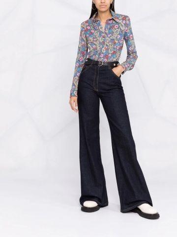 Lettyae paisley-print point-collar shirt