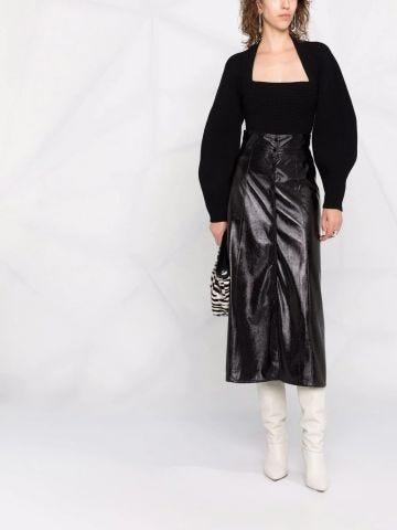 Black eco leather midi skirt