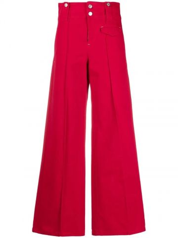 Red high-waisted flared trousers
