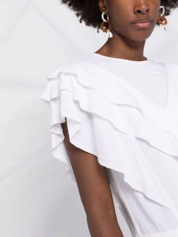 White t-shirt with ruffled-trim