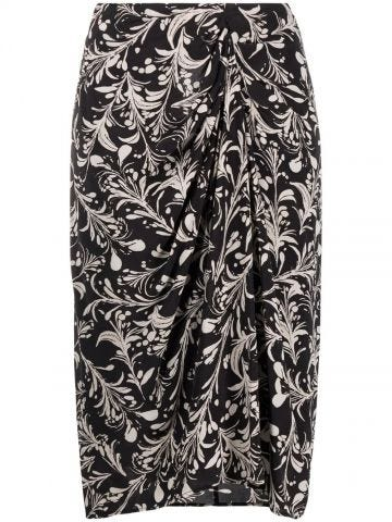 Black high-waisted midi skirt with print