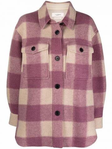 Pink Harveli check-print buttoned coat