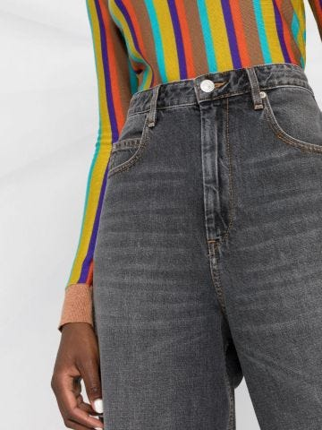 Straight high-waisted grey jeans