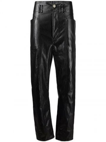 Black Tessini straight biker pants