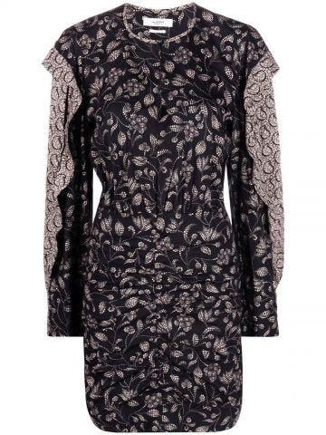 Lexini black short floral dress