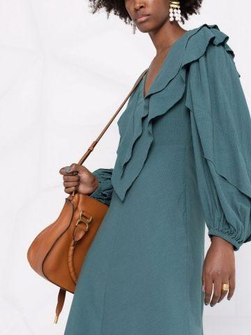 Green midi dress with ruffles