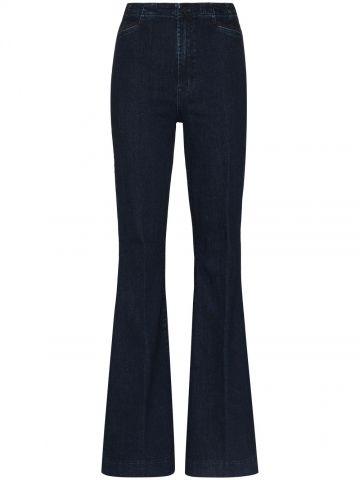 Dark blue high waisted flared jeans