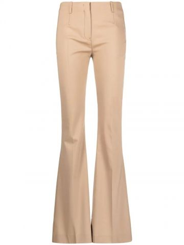 Pantaloni svasati a vita alta beige