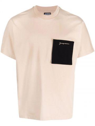 Beige patch-pocket logo T-shirt