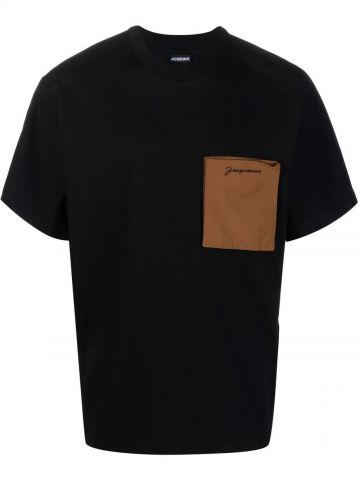 Black patch-pocket logo T-shirt
