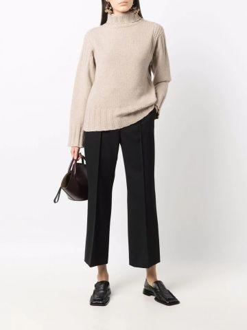 Beige cashmere mock-neck sweater