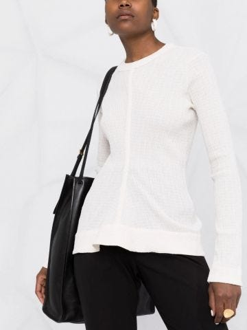 White ribbed round neck top