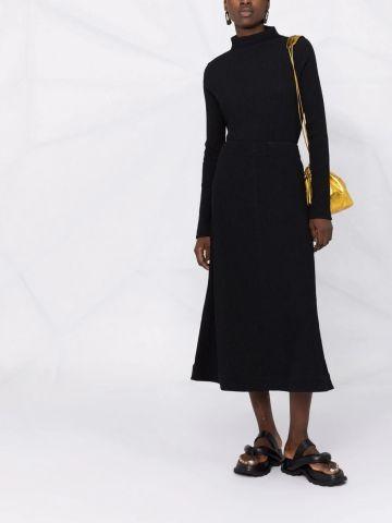 Black crinkled A-line midi skirt