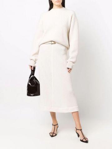 White crinkled A-line midi skirt