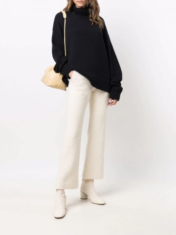 White flared cropped trousers