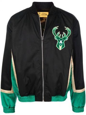 Reversible black bomber jacket