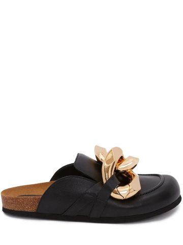 Black Chain Loafer Mules